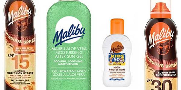 cremas solares after sun e hidratantes protectores para niños y adultos marca Malibu chollo