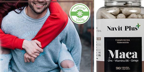 Bote de 90 cápsulas de Extracto de maca con L-Arginina, Zinc, Ginkgo y Vitamina B6 de Navit Plus chollazo en Amazon
