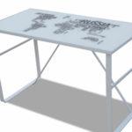Mesa de escritorio Anself de hierro y cristal templado,120x60x75cm con mapamundi impreso barato en Amazon