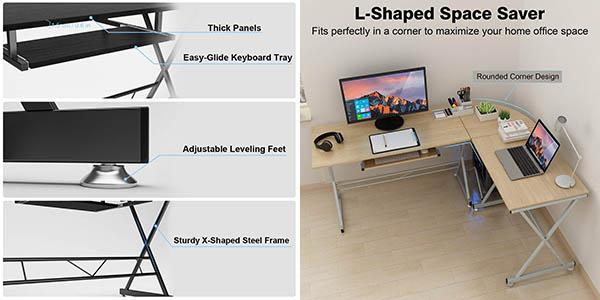 escritorio de trabajo con forma esquinera en madera MDF chollo