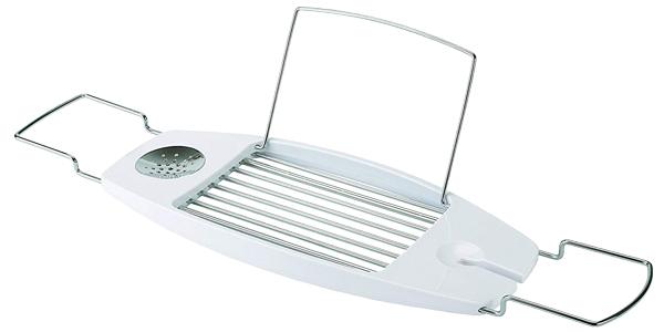 Estante de bañera AmazonBasics con brazos extensibles en color blanco chollazo en Amazon