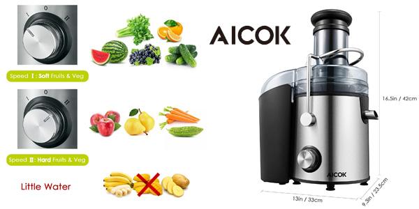 Licuadora para fruta, verdura y zumos Aicok GS-332 800W de gran boca chollazo en Amazon