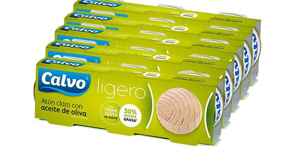 Pack de 15 latas de atún claro Calvo Ligero en aceite de oliva barato