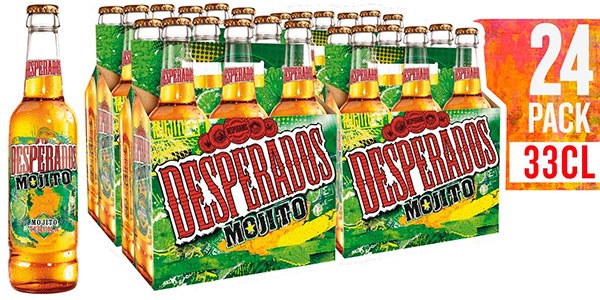 Pack de 24 botellines de cerveza Desperados Mojito (33 cl) en oferta