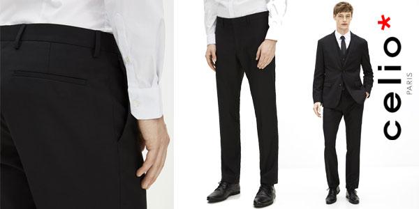 Pantalones de vestir Celio Dohit en color negro para hombre chollo en Amazon