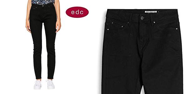 Pantalones vaqueros edc by Esprit mit hohem Bund en color negro para mujer chollo en Amazon