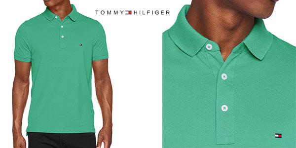 Polo Tommy Hilfiger Slim en color verde para hombre barato en Amazon