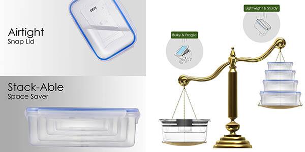 recipientes de plástico resistente con diferentes medidas en oferta