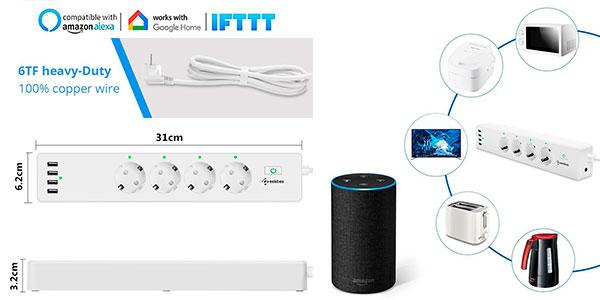 Regleta inteligente Geekbes de 4 enchufes y 4 USB con Wi-Ficompatible con Alexa y Google a muy buen precio