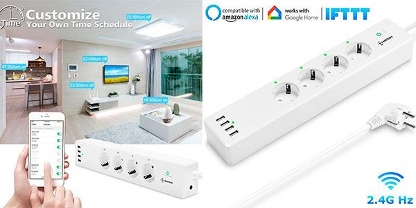 Regleta inteligente Geekbes de 4 enchufes y 4 USB con Wi-Ficompatible con Alexa y Google barata