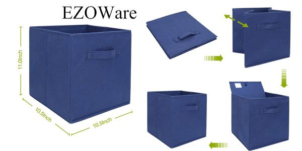 Set de 6 cajas plegables de tela para almacenaje EzoWare en varios colores chollazo en Amazon