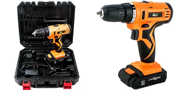 Taladro atornillador sin cable (batería de litio 18V) con maletín