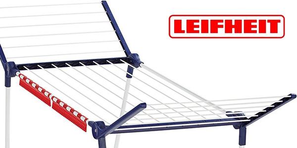 Tendedero de pie plegable Leifheit Pegasus 150 Solid Slim metal inoxidable blanco y azul barato en Amazon