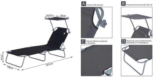 Tumbona inclinable y plegable Outsunny con parasol para playa y piscina chollo en eBay