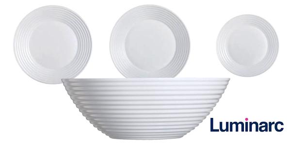 Vajilla redonda Luminarc Harena de 19 piezas en color blanco chollazo