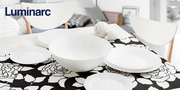 Vajilla redonda Luminarc Harena de 19 piezas en color blanco barata en Amazon