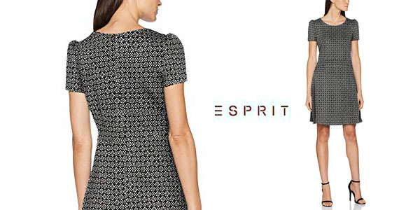Vestido Esprit de manga corta en color negro estampado para mujer chollo en Amazon