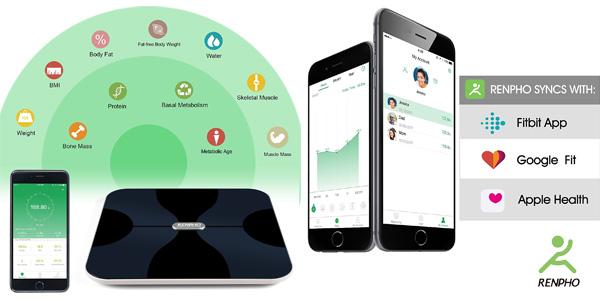Báscula inteligente Renpho corporal inalámbrica con App para Android e iOS chollo en Amazon
