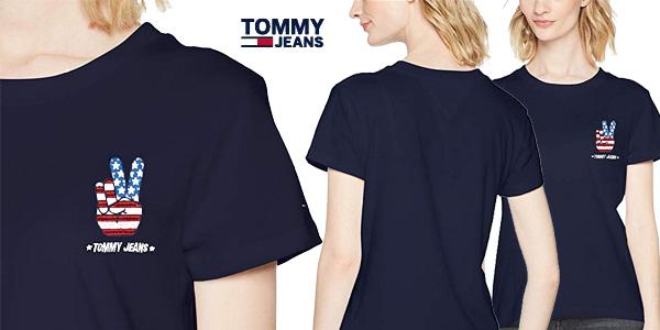 Camiseta Tommy Jeans Tjw Graphic Badge tee azul de manga corta para mujer chollazo en Amazon