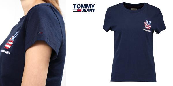 Camiseta Tommy Jeans Tjw Graphic Badge tee azul de manga corta para mujer chollo en Amazon