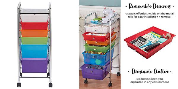 carro de almacenaje para juguetes con ruedas y cajones de plástico oferta
