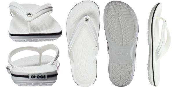Sandalias flip flop Crocs Crocband de color blanco para hombre baratas
