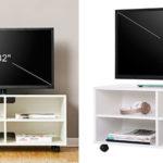 Chollo Mueble Songmics LTC02WT para TV con 4 compartimentos y ruedas de madera blanco