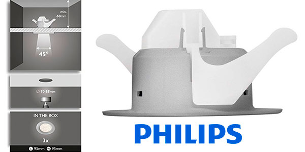Chollo Pack de 3 focos LED empotrables Philips SmartSpot Sceptrum