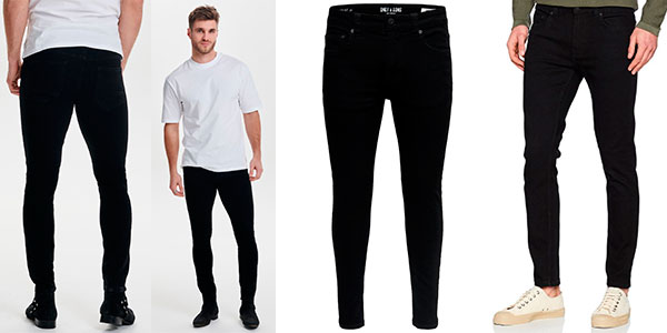 Chollo Pantalones pitillo Only & Sons Warp Black Jeans Skinny Fit negros para hombre