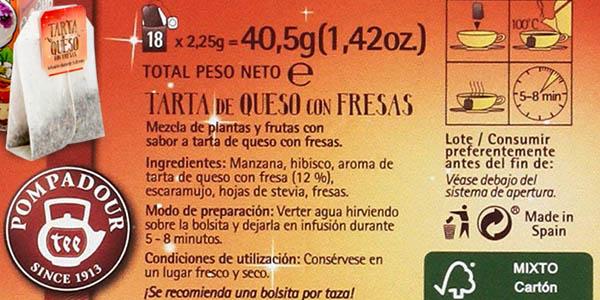 infusión Pompadour tarta de queso con fresas pack ahorro