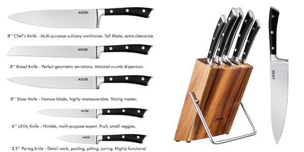 Set de 5 cuchillos de cocina de acero inoxidable y bloque de madera Aicok chollazo en Amazon