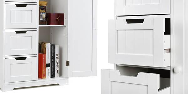 mueble de almacenaje Homfa de gran capacidad en madera MDF blanca chollo