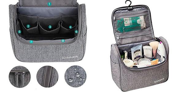 Neceser de viaje unisex impermeable con varios compartimentos y gancho barato