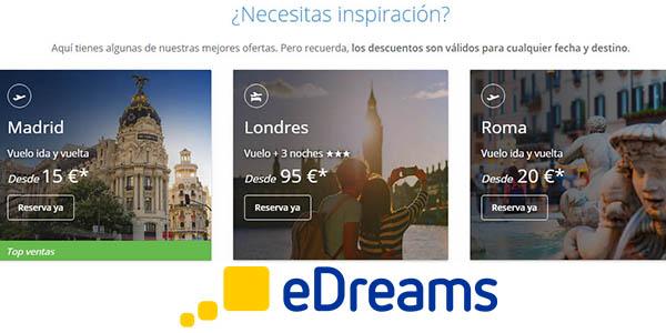 ofertas vuelos viajes eDreams descuento septiembre 2018