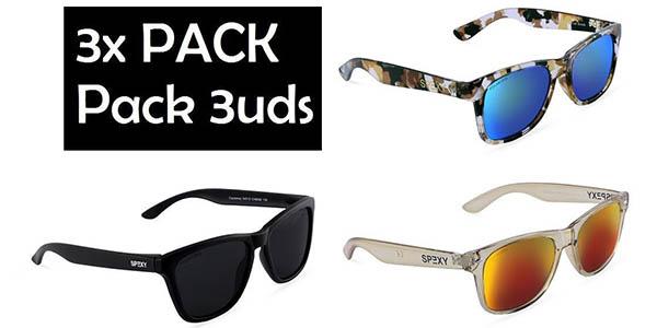 78cd799b82 Pack 3 gafas de sol polarizadas estilo Wayfarer (9 combinaciones a ...