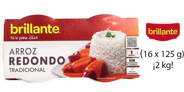 Pack de 16 vasitos de arroz redondo Brillante (2 kg) barato