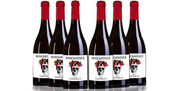 Pack de 6 botellas de vino tempranillo San Jamón Wine & Roses barato