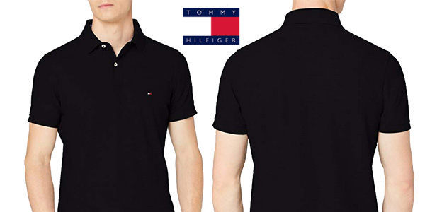 Polo Tommy Hilfiger Performance Slim Fit en negro chollazo en Amazon