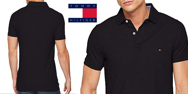 Polo Tommy Hilfiger Performance Slim Fit en negro barato en Amazon