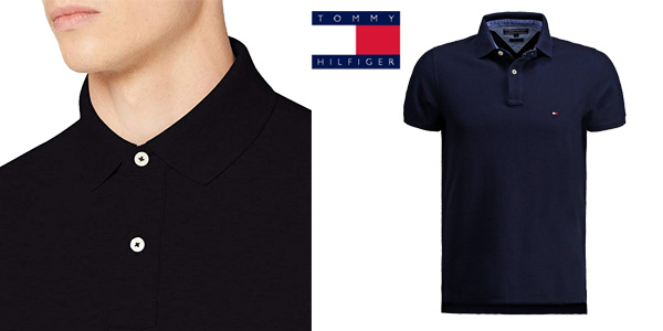 Polo Tommy Hilfiger Performance Slim Fit en negro chollo en Amazon