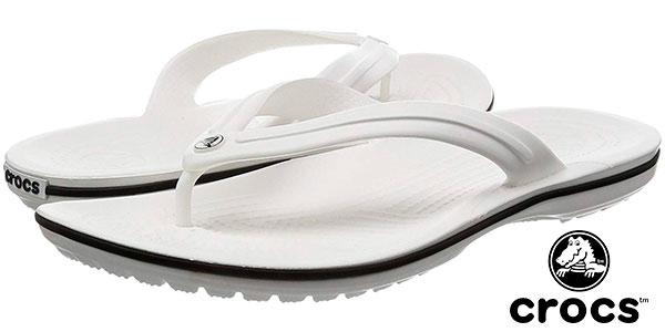 Chollo Chanclas flip flop Crocs Crocband de color blanco para hombre baratas