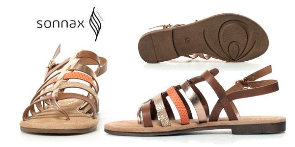 Sandalias planas Noa Sonnax con plantilla de piel y tiras multicolor para mujer chollazo en eBay