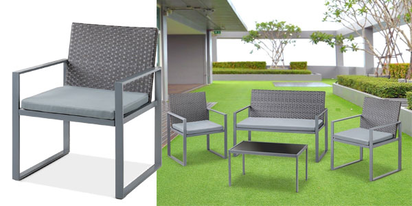 Set de 4 piezas muebles de jardín o terraza McHaus Metrópolis ratan sofa + mesita + sillas con cojin chollazo en eBay