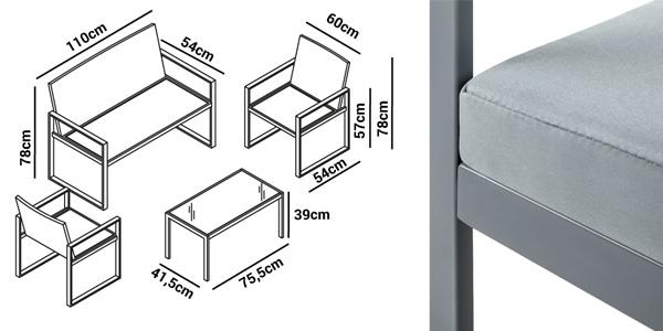 Set de 4 piezas muebles de jardín o terraza McHaus Metrópolis ratan sofa + mesita + sillas con cojin chollo en eBay