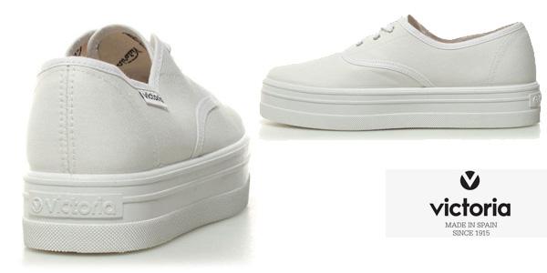 Zapatillas Victoria de lona blanca con plataforma para mujer chollo en eBay