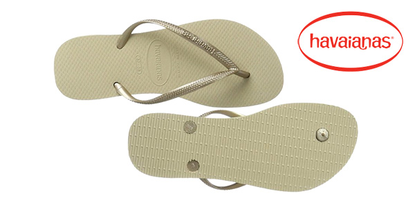 Chanclas Havaianas Slim para mujer en color dorado chollo en Amazon