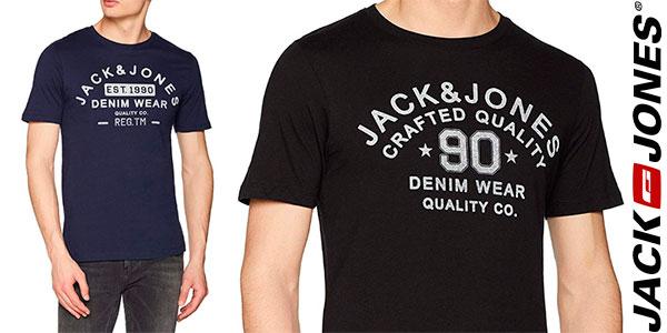Chollo Camiseta Jack & Jones Jjejeans estampada de manga corta y estilo casual para hombre