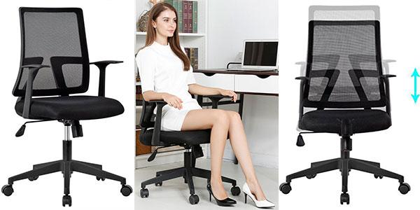Silla de oficina Langria giratoria y reclinable barata