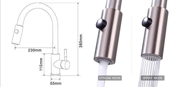 Grifo de cocina Homelody 360º monomando con caño extraíble y función ducha barato