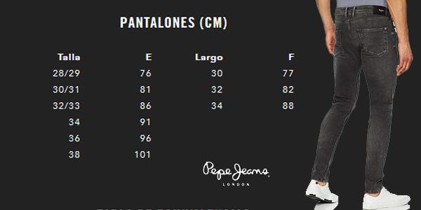 Guía de Tallas Pantalones vaqueros Pepe Jeans Finsbury skinny negros para hombre chollazo en Amazon